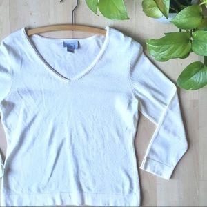 LOFT V Neck 3/4 Sleeve Lightweight Cream Sweater L